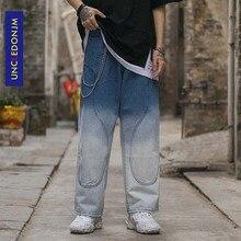 цена на UNCLEDONJM High Street Tie Dyed Pants Mens Straight Zipper Trouser Hip Hop Streetwear Casual Jogger Vintage Mens Jeans AN-C047