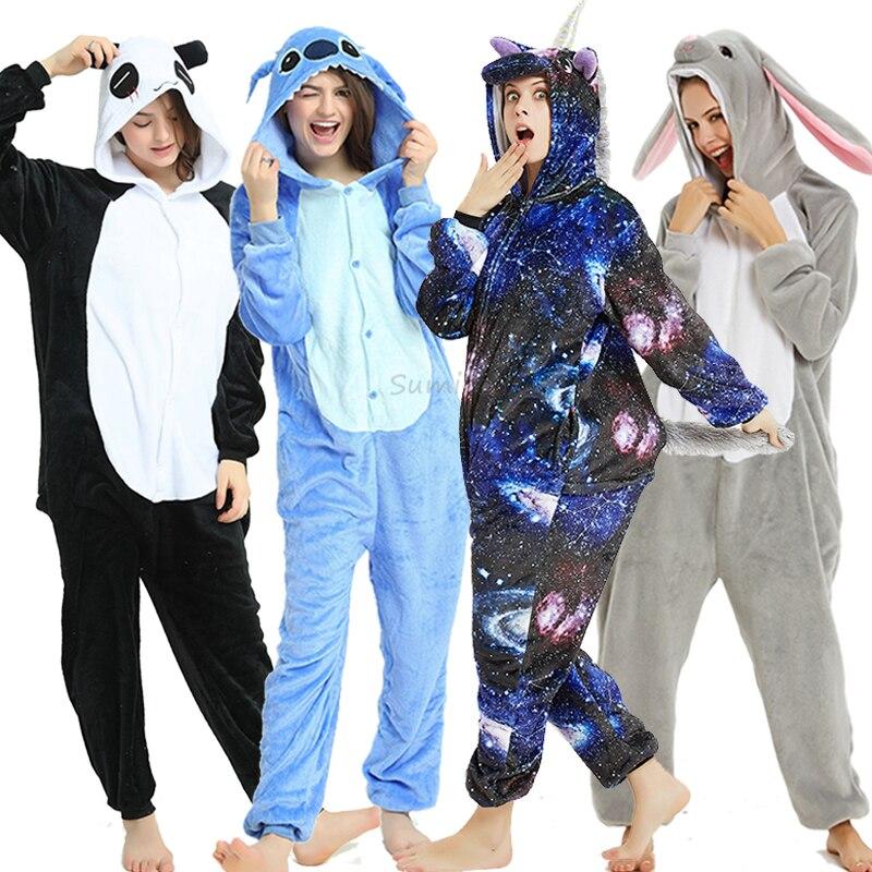 Kigurumi Pajama Unicorn Onesies For Women Men Winter Sleepwear Animal Rabbit Deer Costumes Adults Kugurumi Panda Stitch Pyjamas