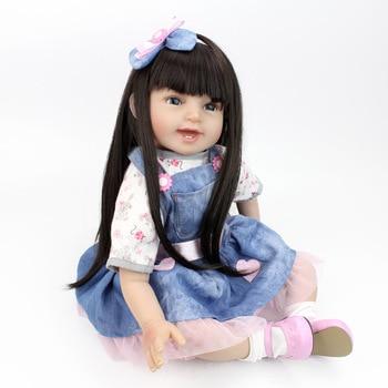 New Reborn Doll Soft Silicone Vinyl Real Touch bebe reborn 22''/55cm princess toddler  girl toys bonecas