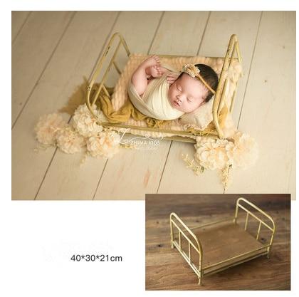 Newborn Baby Photography Props Baby Retro Small Golden  Bed  Props Newborn Posing Baby Photography Props