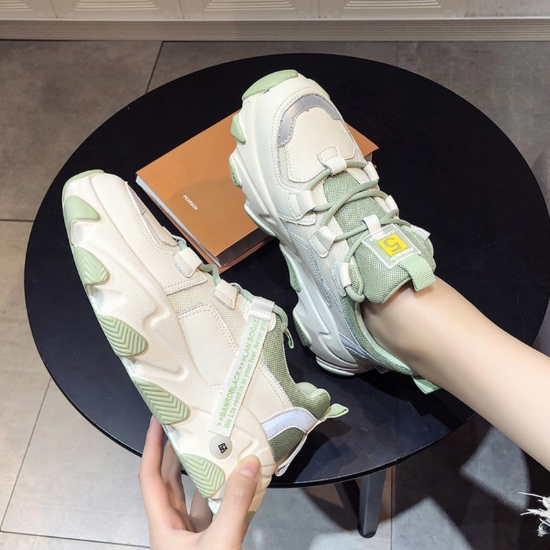 2020 Spring Women Platform Sneakers Designers Green Lace Up Casual Chunky Shoes Tennis Female Sports Comfor Vulcanized Shoes
