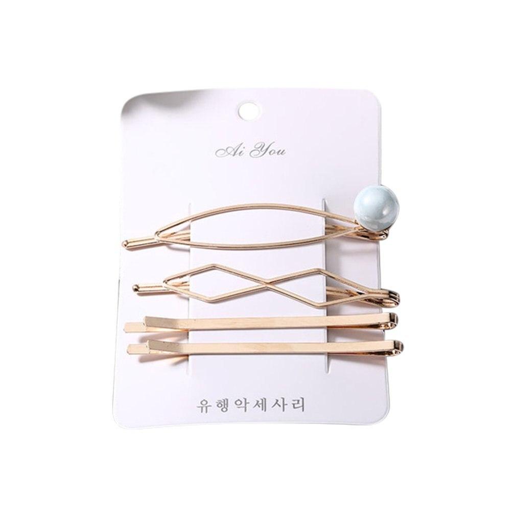 Korean Hair Accessories Girl Sweet Pearl Metal Hairpin Combination Simple Word Clip Side Clip Hairpin Bangs Clip Headdress