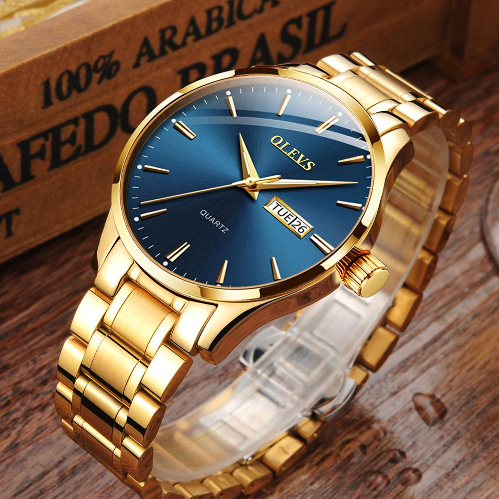 Luxury Men Gold Watch Stainless Steel Quartz Luminous Waterproof Wristwatches Dual Display Male Clock Watches Relogio Masculino