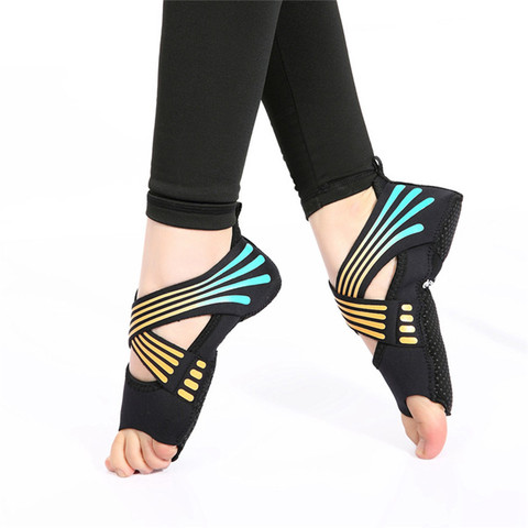 Meias de Fitness Moda Feminina Antiderrapante Bandagem Yoga Dança Pilates Esportes Meias Profissional Indoor Sapatos 1 Par Mod. 342702