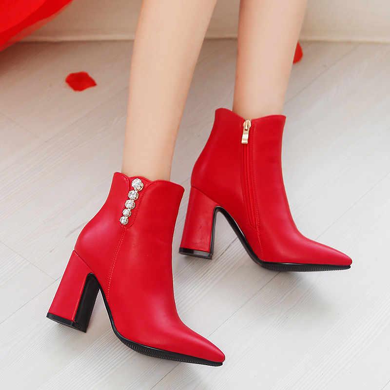 MEMUNIA 2020 yeni moda parti düğün ayakkabı kadın yarım çizmeler kristal sivri burun sonbahar kış kısa çizmeler bayan ayakkabıları