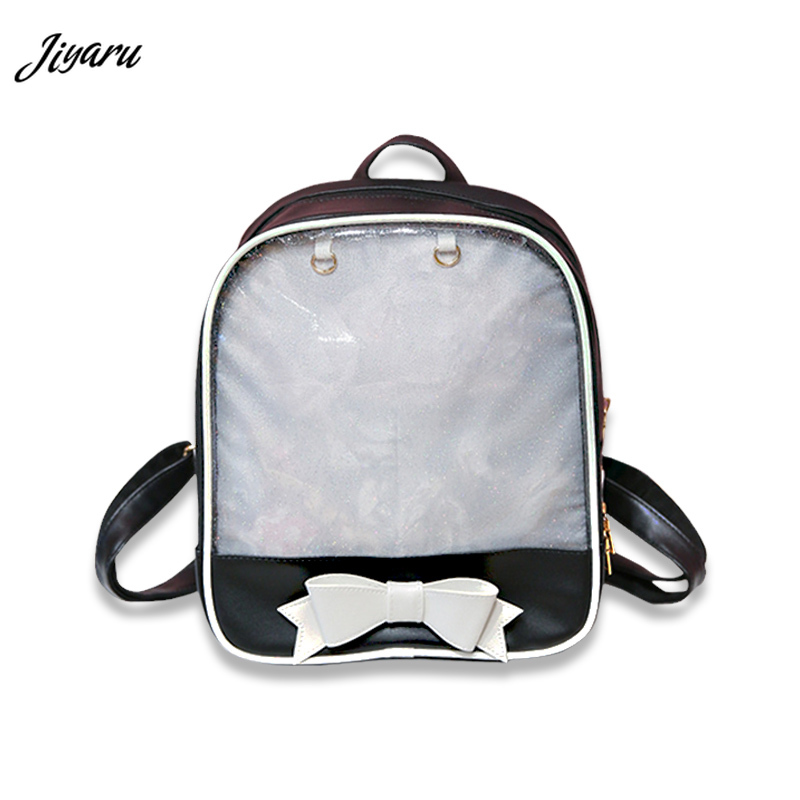 2019 Clear Transparent Women Backpack Cute Bow Ita Bags For School Mini Pink Black Schoolbags For Teenage Girls Fashion Bookbag