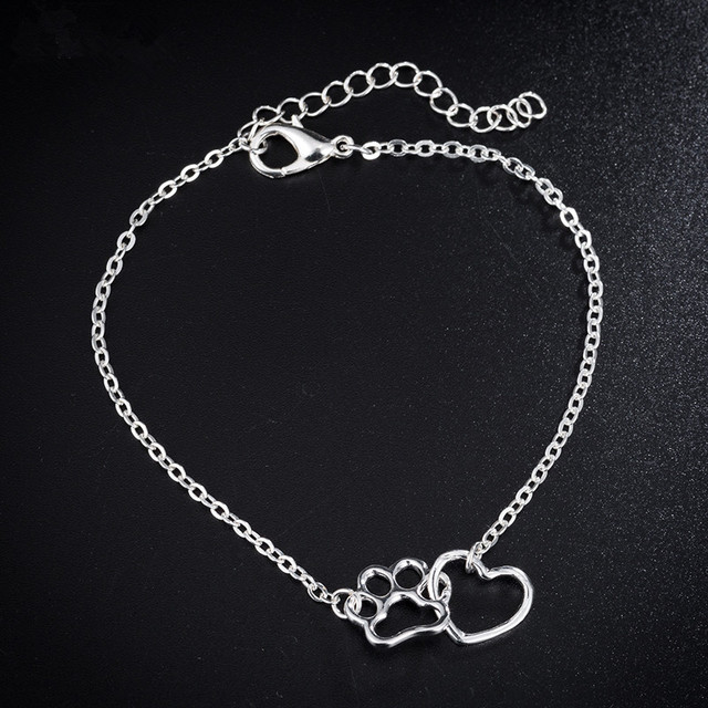 New Hollow Pet Paw Cat Dog Love Heart Footprint Bracelets Shellhard Cute Animal Tassut Charm Bracelet for Women pulseras