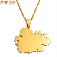 Colgante y collares con mapa de país de Antigua de aniyo regalos de joyería de Color dorado #019521