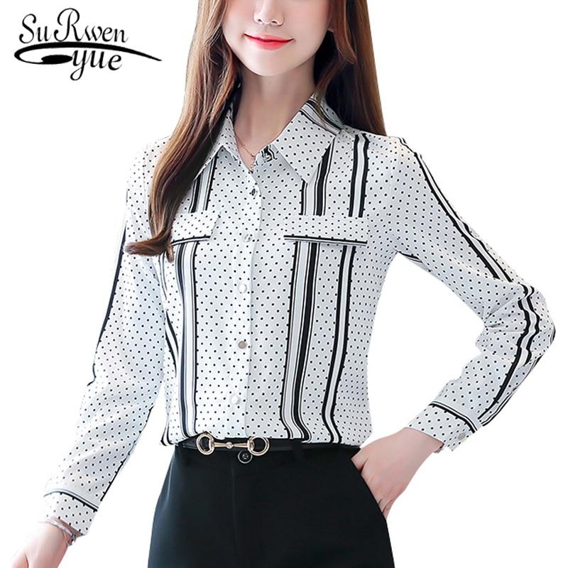 2019 New Fashion Black Plus Size Striped Women Blouse Shirt OL Long Sleeve Cardigan Polka Dot Blouse Women Blusas Mujer 6625 50