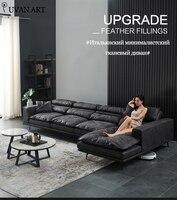 Cloth sofa down modern simple disposable wash ultra soft nordic black and white gray Italian minimalist light luxury sofa