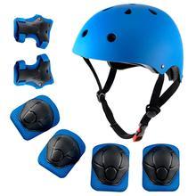 купить Children's helmet Knee Pads Wrist Elbow Sports Protective Gear Skateboard Capacete Skating Casco Set Boy and Girl Bike helmet дешево