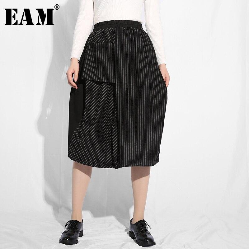 [EAM] 2019 New Spring Summer High Elastic Waist Black Striped Big Pocket Stitch Half-body Skirt Women Fashion Tide JE6570