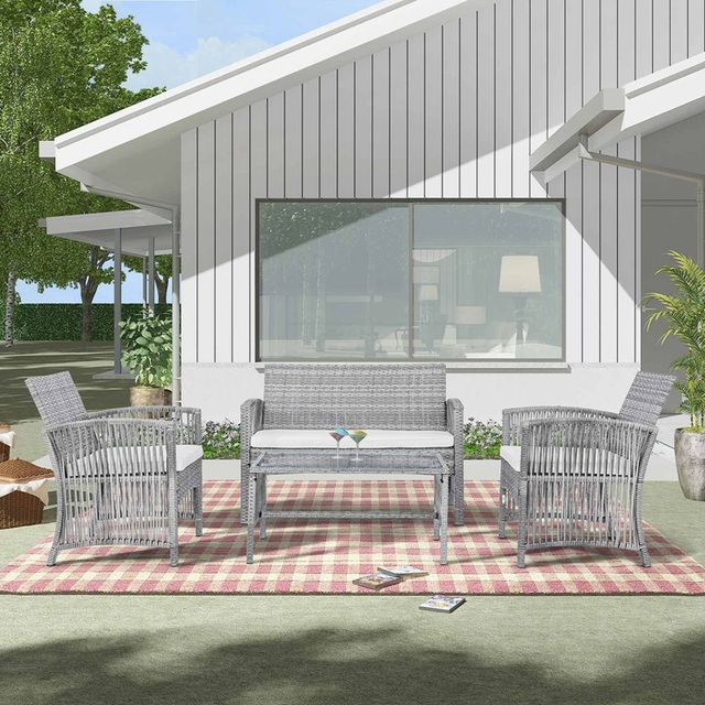 8 Pieces Outdoor Furniture Rattan Chair & Table Patio Set  2