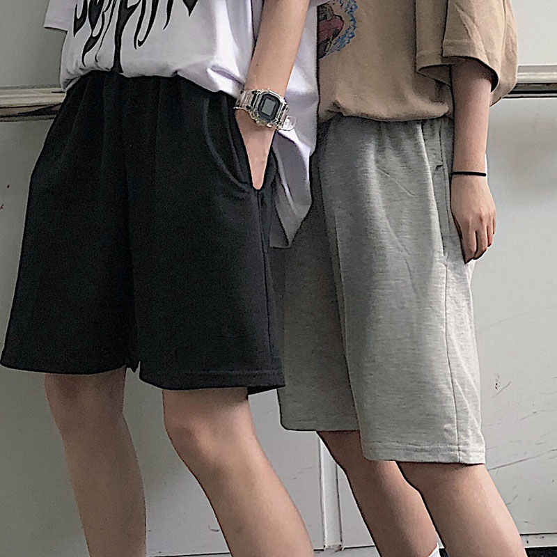 2020 Vrouwen Vijfpuntige Shorts Solid Black Grey Brede Korte Broek Unisex Studenten Casual Oversized Streetwear Hip Hop Punk Stijl