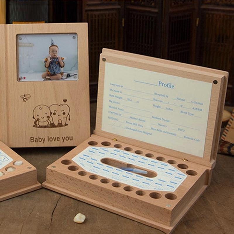 Baby Milk Teeth Wood Storage Box Collection For Baby Kids Teeth Box Creative Children Fetal Hair Boxes Souvenir Gift