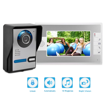 Intercom 7 Inch Wired Video Door Phone Surveillance Unlock IR Night Vision Sensor Camera Kit for Home Security sunflowervdp wired intercom for private house 2 units 7 home phone 700tvl infrared night vision ccd camera doorphones in stock