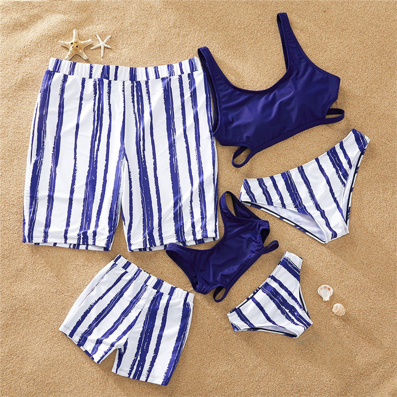 Family matching Swimwear Navy Blue Striped Mom daughter swimsuit Dad and Son Beach Shorts Mommy and me Bikini Set Family Look