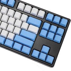 Image 4 - ריק 87 מפתחות ANSI ISO פריסה עבה PBT Keycap לבן כחול טיפת גשם צבע התאמת keycaps OEM