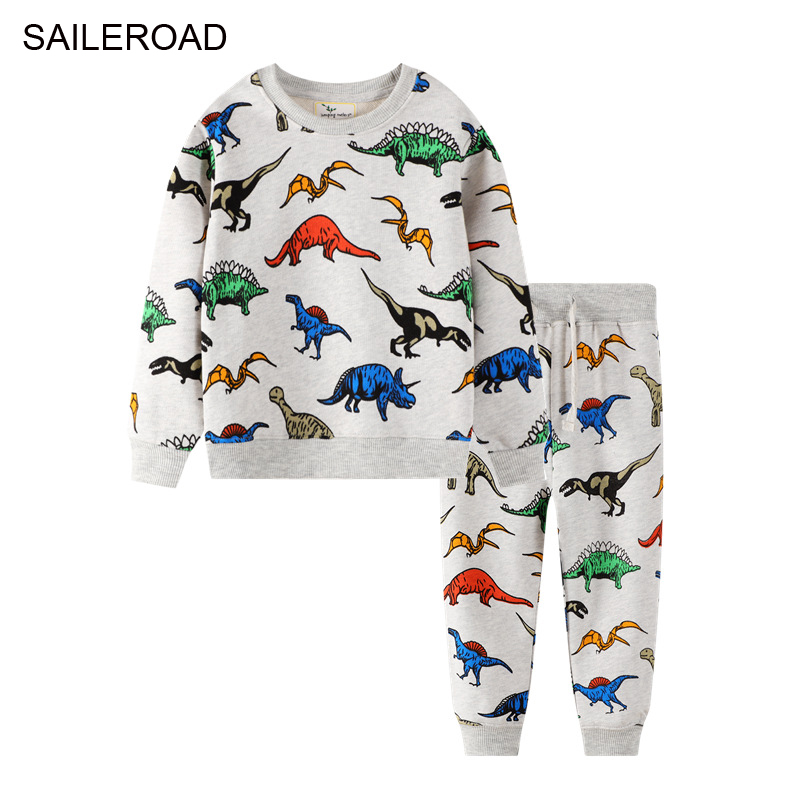 SAILEROAD Dinosaur Print Costumes for Boys Long Sleeve Outfits Autumn Two-piece Toddler Boy Clothing Sets Cotton Clothes Set 1
