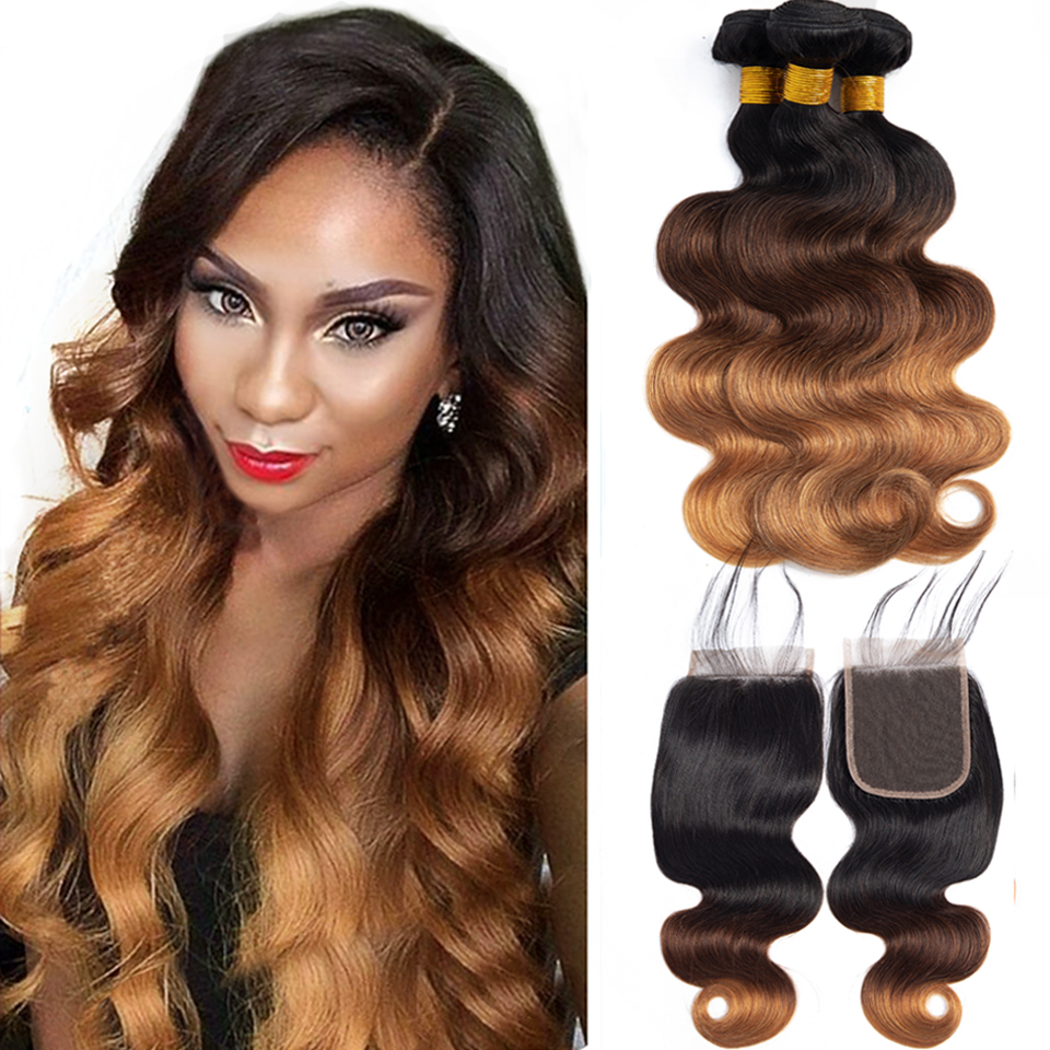 Brazilian Body Wave Hair Bundles With Closure non remy Blonde bundles with closure 1B 4 30