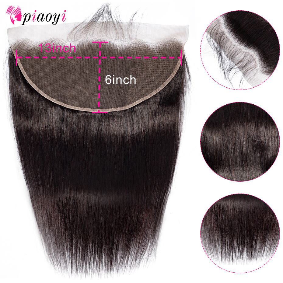 Piaoyi Human-Hair Lace-Frontal Transparent Bleached 13x6 Malaysian Remy HD Straight
