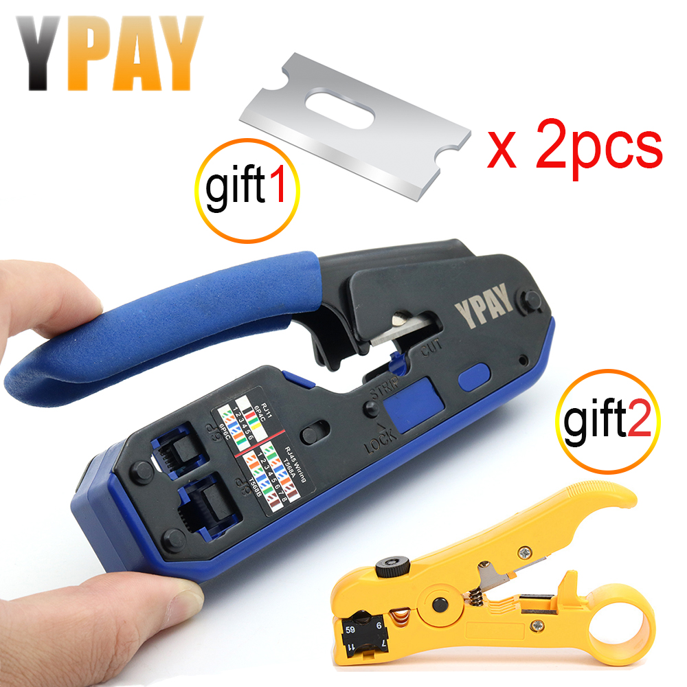 YPAY RJ45 crimping tool pliers network crimper stripper cutter ethernet clip tongs RG45 cat6 cat5e cat5 cat3 RJ11 multi function