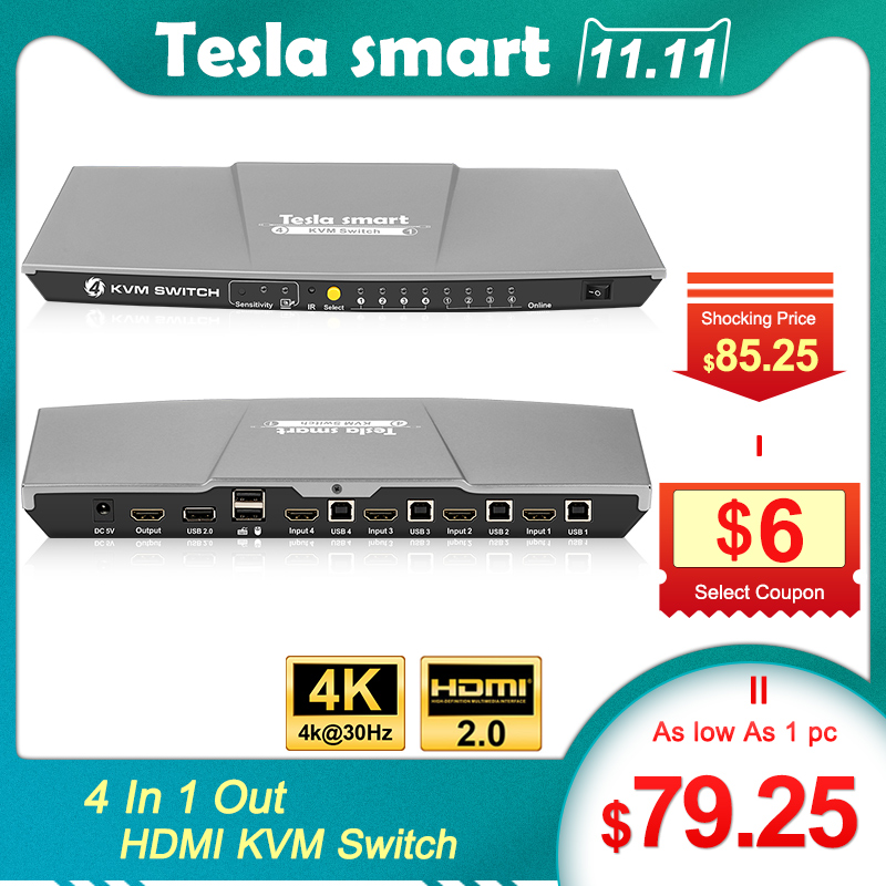 Tesla Smart KVM Switch HDMI 4 Ports 3840x2160@30Hz With Supports USB 2.0 Device Control Up To 4 Computers Etc