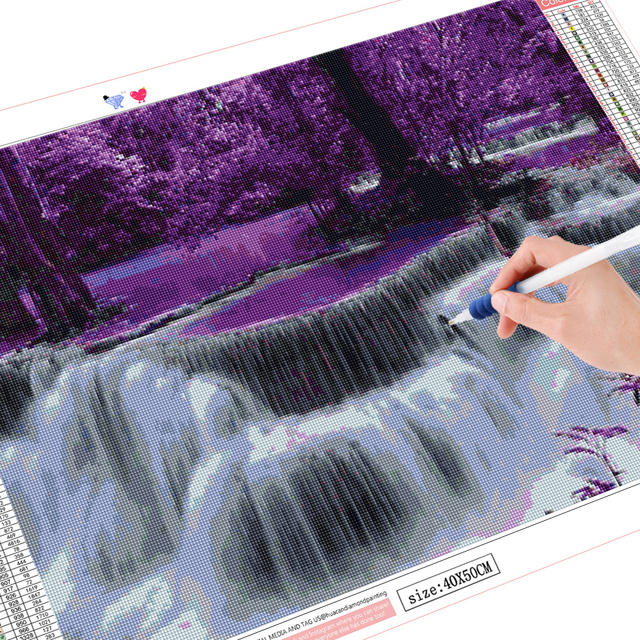 HUACAN Diamond Painting Waterfall Full Square Round 5D DIY Diamond Embroidery Sale Landscape Handicraft Home Decoration