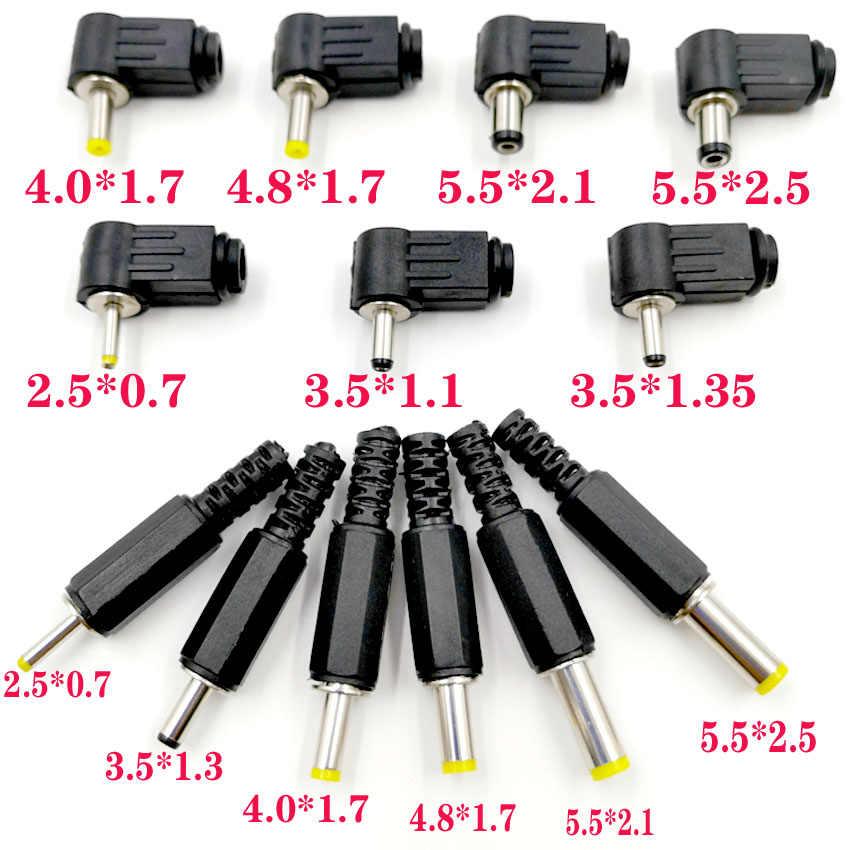 10PC 5,5x2,5x5,5x2,1x4,8x1,7x4,0x1,7, 3,5x1,35x3,5x1,1x2,5x0,7mm conector de alimentación de CC ángulo 90 180 grados en forma de L enchufes