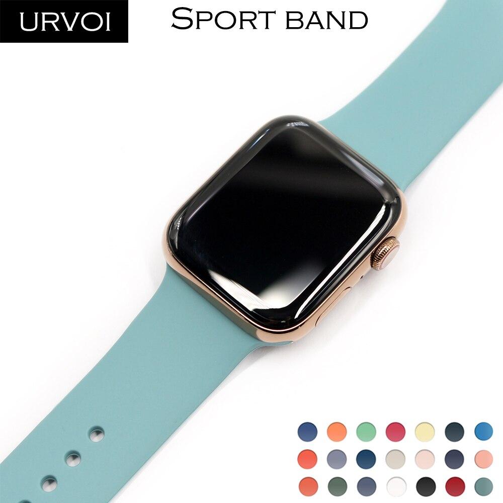 Ремешок URVOI для apple watch 6 SE 5 4 3 2 1, силиконовый ремешок для iWatch 40 мм 44 мм, штифт и застежка, новинка 2020