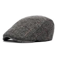 Осенне-зимняя мужская шапочка из спандекса, Шапки, береты, британский стиль, шерсть, улучшенная плоская кепка Gatsby, Классическая винтажная полосатая Кепка