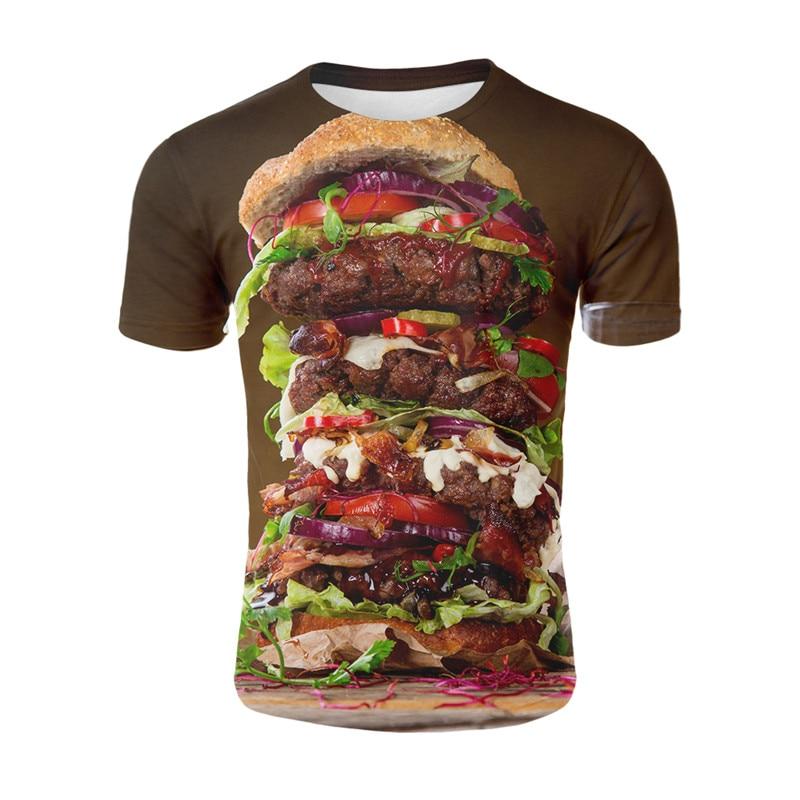 Футболка со свежими продуктами, футболка с вкусной едой, сжигание стейка и колбасы, Мужская забавная футболка с 3d пищей, повседневная
