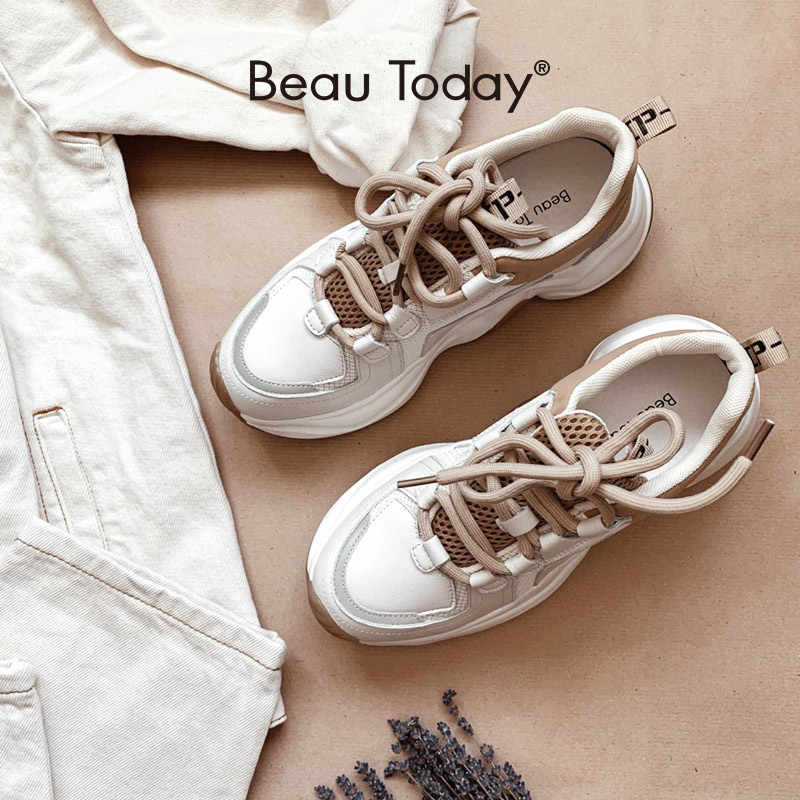 BeauToday Chunky Sneakers Women Cow