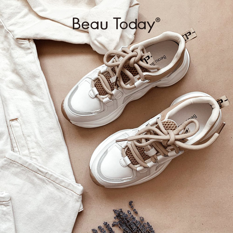 BeauToday Chunky Sneakers Women Cow Leather Mesh Retro Casual Shoes Platform Lace Up Trainers Handmade 29333