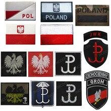 Polónia bandeira bordado remendo polonês águia força especial do exército remendos militares ir reflexivo emblema tático bordado emblemas