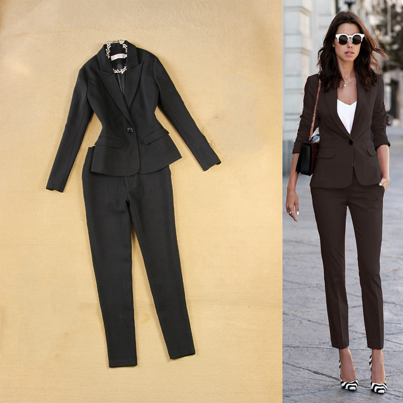 Professional Office Women's Suit Overalls Two-piece Autumn Casual Slim Black Small Suit Jacket Female Slim Trouser Suits 2019