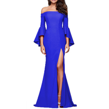 2019 Winter Dress Women New High-end Long Sexy Word Collar Split Party Night Clothes Sleeve