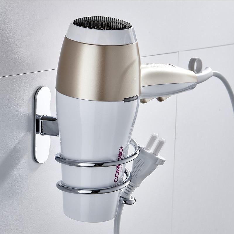 Hair Dryer Holder Stainless Steel Chrome Finish Hair Dryer Rack Stand Wall Mounted Bathroom Shelves Shelf Storage Holder Hanger