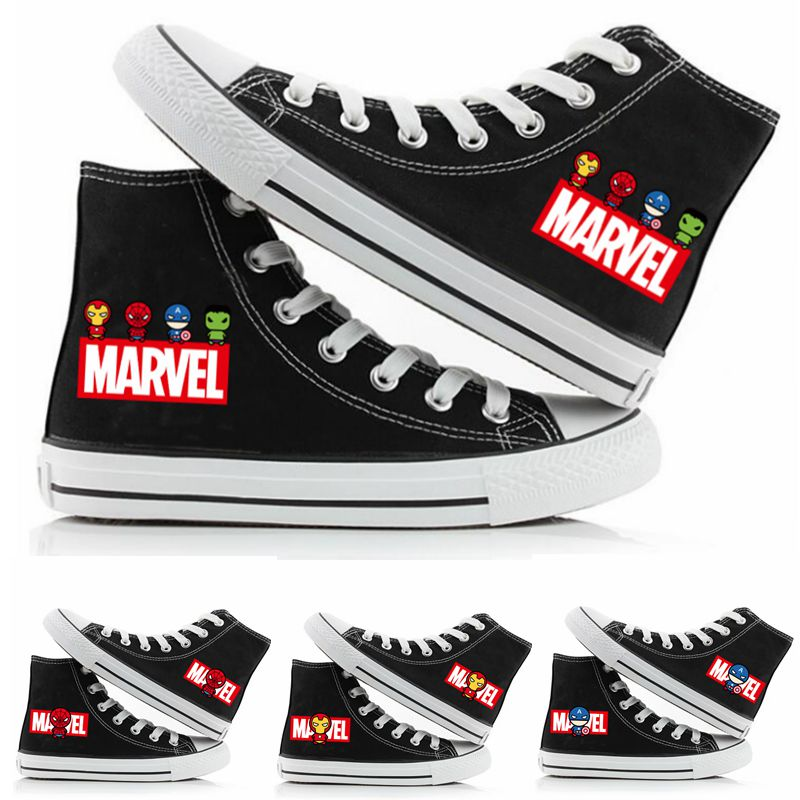 Super-héros mignon Marvel Spiderman Ironman Captain America Sneakers chaussures en toile hommes femmes adolescents occasionnels étudiants baskets chaussures