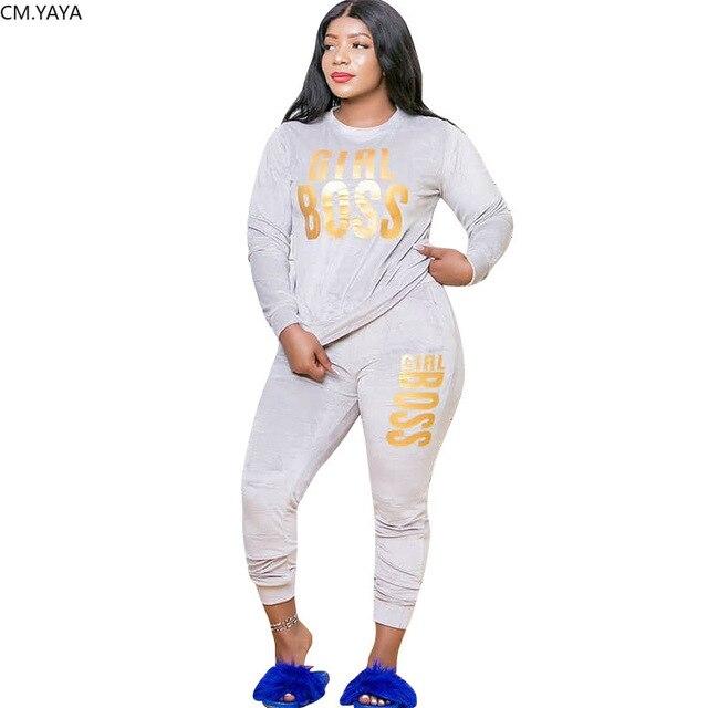 YAYA-Conjunto de chándal de terciopelo con letras estampadas para mujer, Conjunto de sudadera, Top, pantalones para correr, conjunto de dos piezas de Fitness de talla grande, XL-5XL CM 4