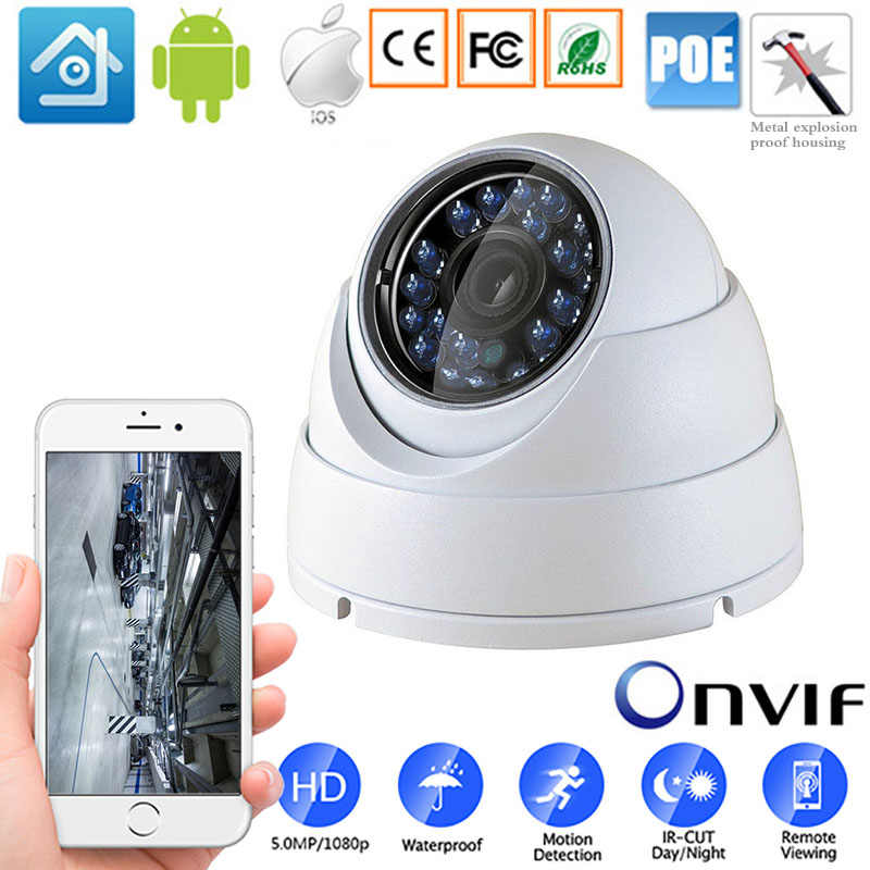 ONVIF P2P CMS XMEYE IP Dome Waterproof Camera 720P 1080P H.264+/H.265 HD Network Outdoor Indoor IRC 24 LEDs Infrared NightVision