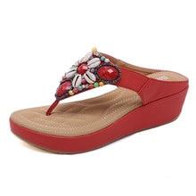 National Wind Womens Slippers Bohemian Beaded Retro Wedge Women Summer Clip Toe Sandals Beach Shoes Flip Flops 35-42