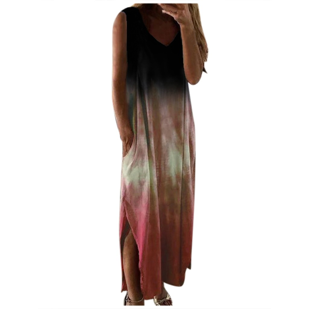 Women Summer Dress Women Casual Tie dye Print Sleeveless Dress V neck Pocket