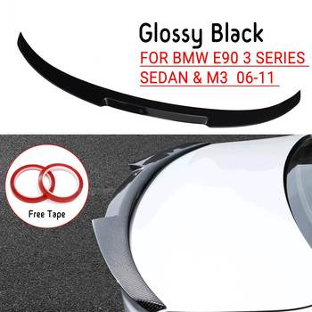 Glossy Black / Carbon Fiber Rear Roof Spoiler Lip Window Top Wing M4 Style For BMW E90 2006-2011 3 Series Sedan M3 2008-2012 image