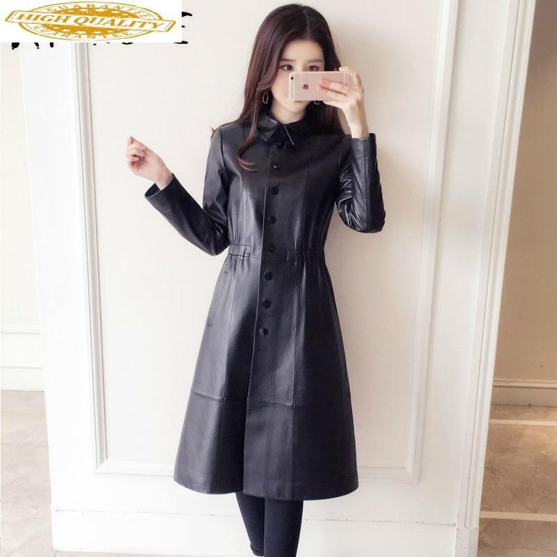 Real Leather Jacket Women Sheepskin Genuine Leather Jacket Korean Slim Women Windbreaker Spring Autumn Veste Femme 8003 YY2137