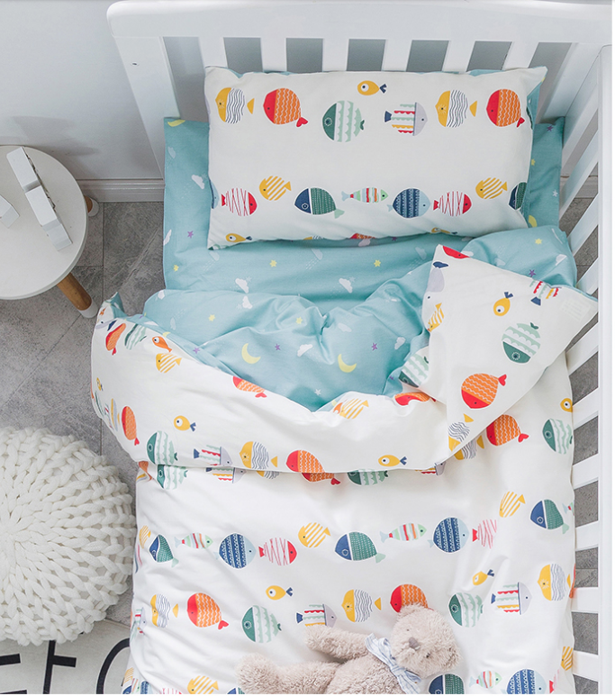 3Pcs Baby Bedding Set Cute Animal Cotton Crib Bed Linen Kit Cartoon  Includes Pillowcase Bed Sheet Duvet Cover Without Filler