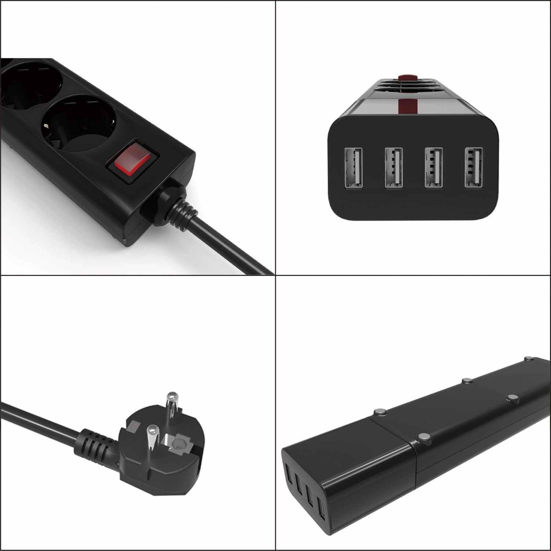 Listwa zasilająca gniazdo wielokrotne z gniazdami USB 3 ue 4 porty wymienna szybka ładowarka ścienna ochrona przeciwprzepięciowa przedłużacz 1.5m