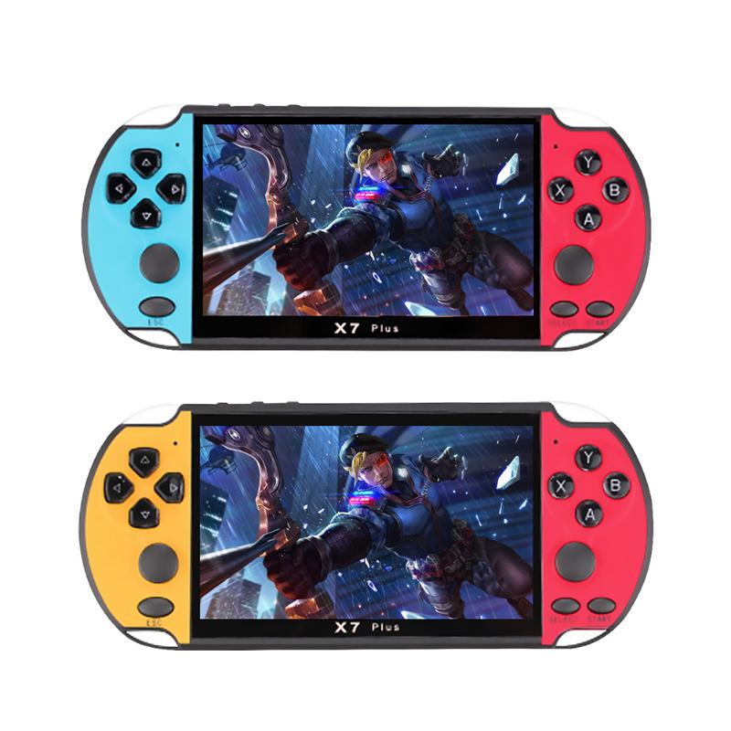 X7 Plus 5.1inch Video Game Console 8GB 8/16/32/64/128 Bits Double Rocker Handheld Game Player Portable Retro Console for Kids