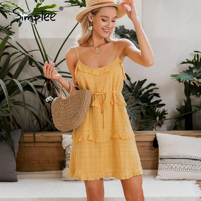Simplee Sexy Sleeveless Beach Dress Streetwear Ruffled Sash Women Summer Dress Casual Holiday Solid Party Bodycon Mini Dress