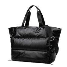 شتاء جديد سعة كبيرة حقيبة كتف للنساء مقاوم للماء حقائب نيلون الفضاء وسادة القطن ريشة أسفل حقيبة حقيبة كبيرة مع الكتف